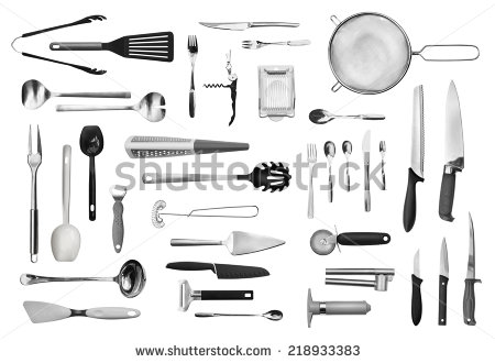 stock-photo-realistic-kitchen-equipment-and-cutlery-collection-isolated-on-white-218933383