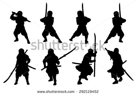 stock-vector-ninja-and-samurai-naginata-silhouette-set-292119452
